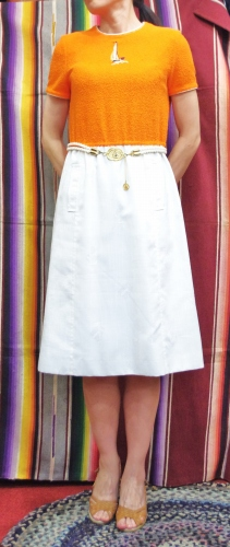 70'S~ YACHT EMBROIDERED DRESS WITH BELT(ORG/WHT)