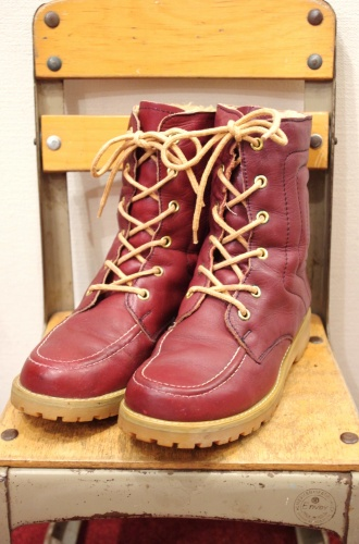 70'S~ LEATHER & BOA LACE UP BOOTS(BGDY)