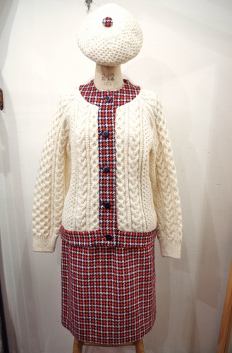 70's~ FISHERMAN CARDIGAN & HOUNDSTOOTH SKIRT 2 PIECE WITH BERET