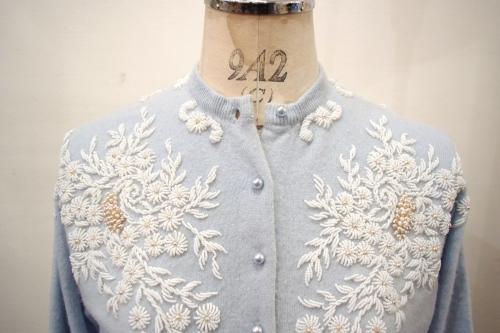 50'S~ BEADS & PEARL WOOL CARDIGAN(P.BLE)