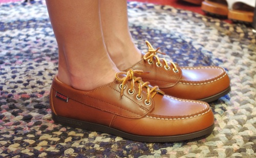 DEAD STOCK SEBAGO CAMP SIDES LEATHER MOCASSIN SHOES(MADE IN USA/BRN)