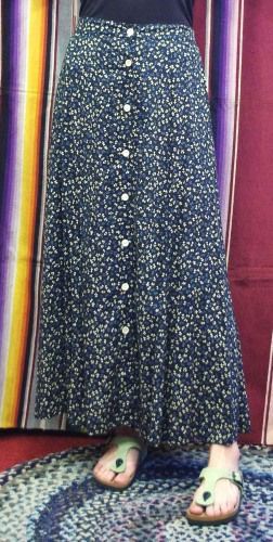 80'S~ FLOWER PRINT RAYON MAXI SKIRT(MADE IN USA ・ BLK/D.BLE/G.BEIGE)