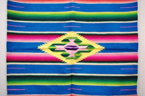 VINTAGE 40'S~ MEXICAN SERAPE RUG RUNNER(TQ/PNK/YLW)