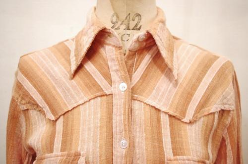 70'S~ INDIA COTTON GAUZE WESTERN YORK L/S SHIRTS(BRN/P.ORG)