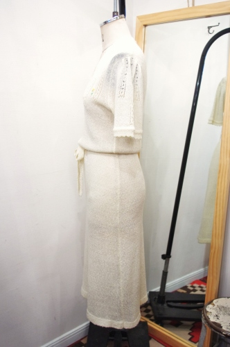 70'S~ FLOWER EMBROIDERED CROCHE KINT DRESS WITH BELT(IVY)