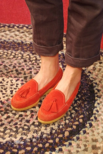 70'S~80'S BASS SUEDE TASSEL LOAFER SHOES(O.RED)
