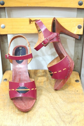 70'S~ ANKLE STRAP HIGH HEEL SANDAL(PLM・MADE IN ITALY)
