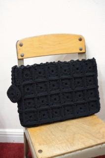 40'S~ CROCHET CODE CLUTCH BAG(BLK)
