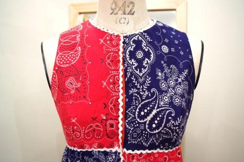 70'S~ VINTAGE BANDANA PATCHWORK LONG DRESS(NVY/RED/WHT)