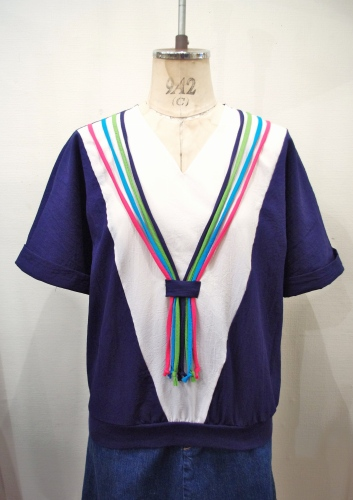80'S~ NEON COLOR STRING TIE V-NECK TOPS(MADE IN USA・NVY/WHT)