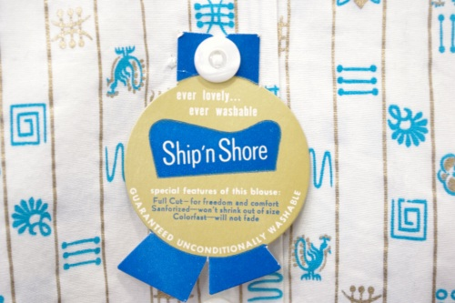 DEAD STOCK 50'~ SHIP'N SHORE PRINT SHORT SLEEVE SHIRTS(WHT/TQ)