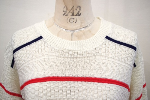 80'S~ BORDER CROCHET SUMMER KNIT TOPS(WHT/NVY/RED/A.BLE)