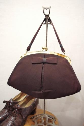 50'S~ BOW TIE CLASAP HAND BAG(D.BRN)