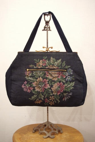 50'S~ EMBROIDERED TAPESTRY HAND BAG(BLK)