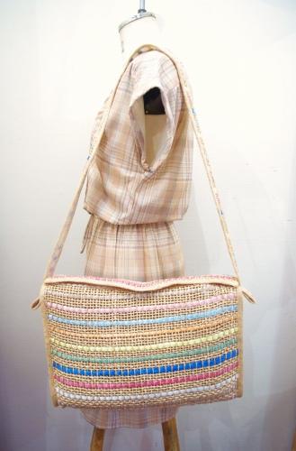 70'S~ BORDER RAFFIA STRAW BIG SHOULDER CLUTCH BAG(NTRL)