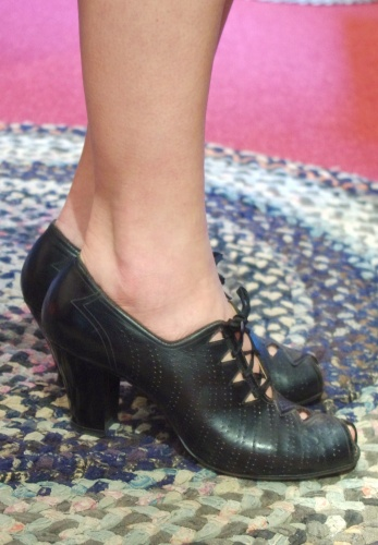 40'S~ PEEP TOE PUNCHING LEATHER CUT OUT LACE UP DRESS SHOES(BLK)