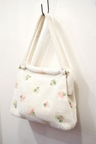 60'S~ FLOWER EMBROIDERED BEADS HAND BAG(WHT/PNK/GRN)