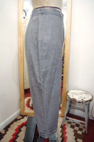 50'S~60'S CHAMBRAY CROPPED PANTS(L.GRY)