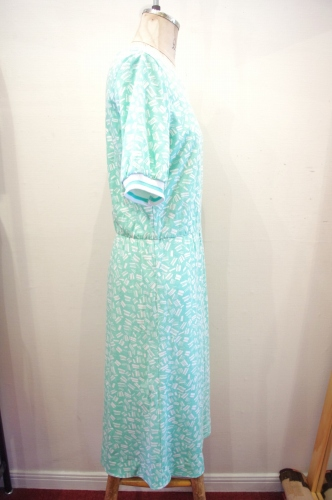 80'S~ SHORT SLEEVE PRINT DRESS(P.GRN/WHT)