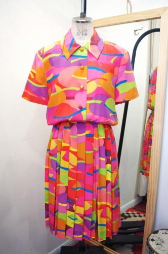 80'S~ SILK BRIGHT COLOR PLEAT DRESS(PNK/ORG/TQ/YLW/GRN)