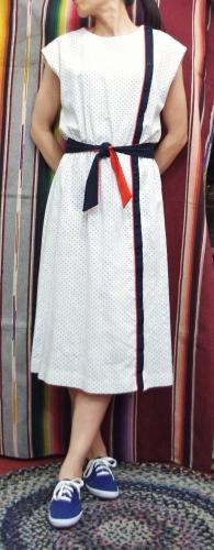 70'S~ FRONT SIDE FULL BUTTON SLEEVELESS DOT DRESS(WHT/NVY/RED)