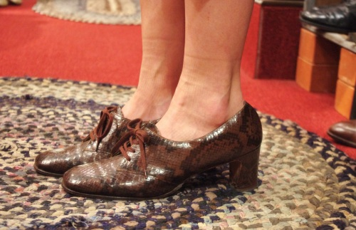 40'S~ LADY'S LACE UP SNAKESKIN EMBOSS LEATHER DRESS SHOES(BRN)