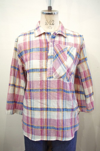 70'S~ COTTON GAUZE 3/4 SLEEVE CHECK PULL OVER SHIRTS(L.PPL/BLE/WHT/YLW)