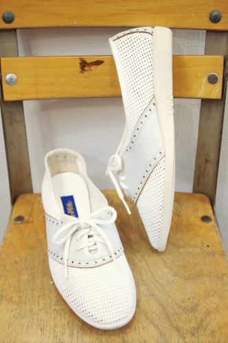 DEAD STOCK 70'S~80'S MESH & LEATHER LACE UP SHOES(WHT/L.GRY)