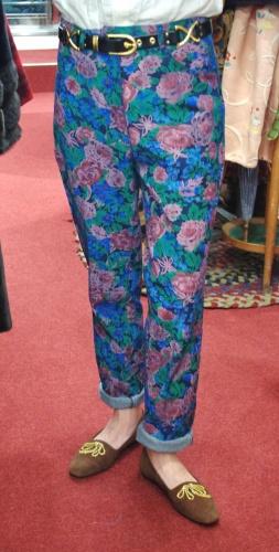 DEAD STOCK 80'S~ FeLuchi FLOWER PRINT DENIM PANTS(D.BLE)