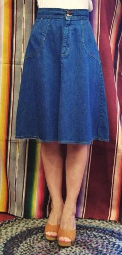 70'S~ LADY LEVI'S PATCH POCKET DENIM FLARE SKIRT