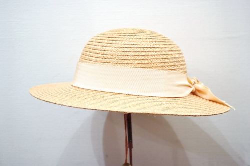 VINTAGE PINK RIBBON STRAW HAT(MADE IN ITALY・NTRL)
