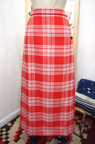 VINTAGE TARTAN CHECK BELTED MAXI PLEATS WRAP SKIRT(RED/WHT)