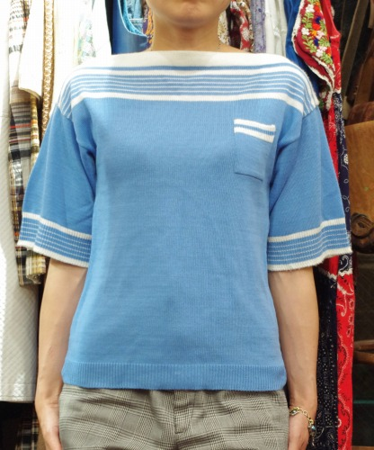 DEAD STOCK 70'S~ JCPenney BOAT NECK BOADER KNIT TOPS(S.BLE/WHT)
