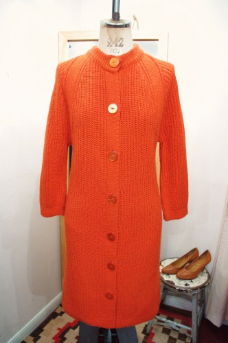 70'S~ FULL BUTTON LONG KNIT CARDIGAN DRESS(ORG)