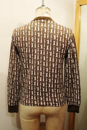 60'S CHESS PIECE PATTERN HALP ZIP JACQUARD TOPS (BRN/WHT)
